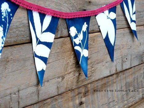 Create a unique bunting using a Cyanotype sensitizer set .  Free tutorial with pictures on how to make bunting in under 60 minutes by decorating with scissors, ribbon, and glue. How To posted by That Cute Little Cake.  in the Other section Difficulty: Easy. Cost: Cheap. Steps: 7