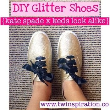 These shoes look just like the Keds x Kate Spade Champion Glitter Shoes, but cost a whole lot less.  .  Free tutorial with pictures on how to decorate a pair of glitter shoes in under 60 minutes by decorating with shoes, decoupage glue, and painter's tape. How To posted by The Garsow Twins.  in the Jewelry section Difficulty: Simple. Cost: No cost. Steps: 4