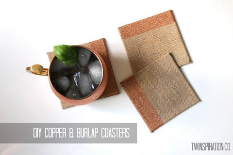 These coasters fit in with any decor, and look great with a copper mug!  .  Free tutorial with pictures on how to make a coaster in under 15 minutes by decorating with burlap, foam brush, and metallic paint. How To posted by The Garsow Twins.  in the Home + DIY section Difficulty: Easy. Cost: Absolutley free. Steps: 3