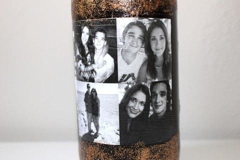 Add a photo collage to a wine bottle for a great gift!  .  Free tutorial with pictures on how to make a packaging labels in under 120 minutes by decorating with wine bottle, decoupage glue, and printer paper. How To posted by The Garsow Twins.  in the Other section Difficulty: 3/5. Cost: 3/5. Steps: 10