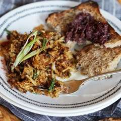 Shredded Root Vegetable Hash Browns With Fig Olive Tapenade