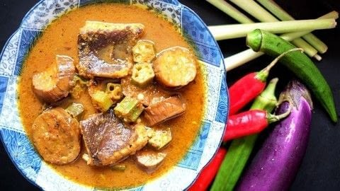 Authentic Nyonya Kuah Lada - a recipe passed down from my grandma, it really does not get any more authentic and delicious than this. .  Free tutorial with pictures on how to cook a curry in under 50 minutes by cooking with skate, eggplant, and okra. Recipe posted by kitchenmissus.  in the Recipes section Difficulty: 4/5. Cost: 3/5. Steps: 10