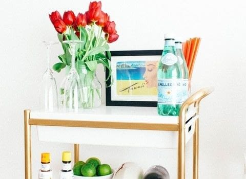 Ikea Bygel cart makeover .  Free tutorial with pictures on how to make a bar cart in under 60 minutes by decorating with cart. How To posted by seefoodplay.  in the Home + DIY section Difficulty: Easy. Cost: Cheap. Steps: 3