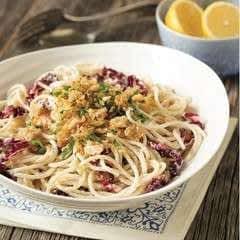 Spaghetti With Radicchio, Ricotta, And Lemon Garlic Bread Crumbs