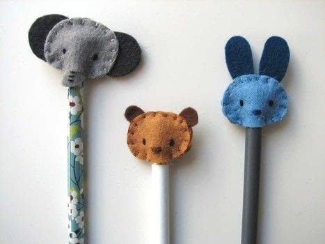 "An easy idea to give a new ""image"" to your pencils.  .  Free tutorial with pictures on how to make a toppers in under 60 minutes by embroidering and sewing with felt and embroidery thread. Inspired by animals. How To posted by Maria P.  in the Needlework section Difficulty: Simple. Cost: Cheap. Steps: 3"