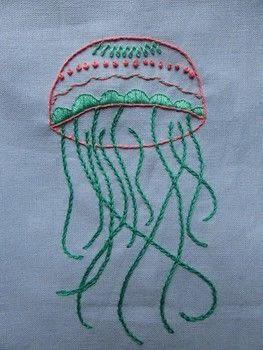 A nice embroider to decorate you home. .  Free tutorial with pictures on how to embroider art in 7 steps by embroidering with embroidery needle, cotton fabric, and embroidery thread. Inspired by jellyfish. How To posted by Maria P.  in the Needlework section Difficulty: 3/5. Cost: Cheap.