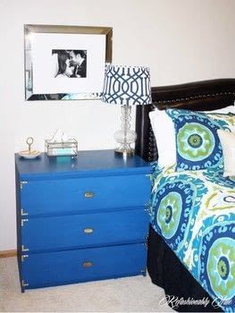 IKEA Malm Makeover .  Free tutorial with pictures on how to make a bedside table in 4 steps by decorating with primer, roller, and paint. How To posted by Ruthie T.  in the Decorating section Difficulty: 3/5. Cost: Cheap.