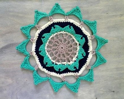Bright and colorful crochet mandala .  Free tutorial with pictures on how to make a hanging in under 120 minutes by yarncrafting and crocheting with cotton, scissors, and yarn needle. How To posted by Rachel T.  in the Yarncraft section Difficulty: Simple. Cost: Absolutley free. Steps: 3