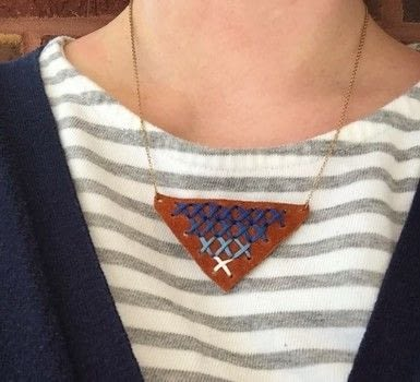 Fun, ombre addition to any outfit! .  Free tutorial with pictures on how to make a stitched necklace in under 120 minutes by jewelrymaking and cross stitching with embroidery floss, leather, and necklace. Inspired by ombre. How To posted by Rachel T.  in the Jewelry section Difficulty: Easy. Cost: Cheap. Steps: 3
