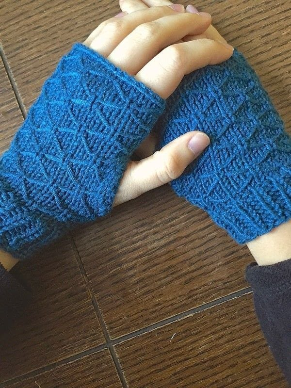 Knitting Pattern For Fingerless Gloves On Circular Needles : Lattice Knit Wrist Warmers ? How To Stitch A Knit Or Crochet Glove ? Yarncraf...