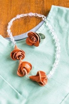 Leather Jewellery .  Free tutorial with pictures on how to make a leather necklace in under 35 minutes by jewelrymaking and sewing with card, leather, and leather glue. Inspired by roses. How To posted by Search Press.  in the Jewelry section Difficulty: Simple. Cost: Cheap. Steps: 9