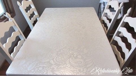 .  Free tutorial with pictures on how to make a table in 5 steps by decorating and stencilling with paint, stencil, and primer. How To posted by Ruthie T.  in the Home + DIY section Difficulty: Simple. Cost: Cheap.