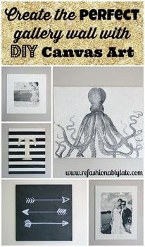 DIY canvas wall that I created all with different canvas techniques. .  Free tutorial with pictures on how to create art / a model in under 60 minutes by decorating and transfering with canvas. How To posted by Ruthie T.  in the Decorating section Difficulty: Simple. Cost: Cheap. Steps: 7