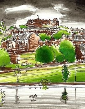 Using the pens to create a landscape.  .  Free tutorial with pictures on how to paint a landscape in under 120 minutes by creating and drawing with pens. How To posted by Edinburgh Sketcher.  in the Art section Difficulty: Easy. Cost: Cheap. Steps: 5