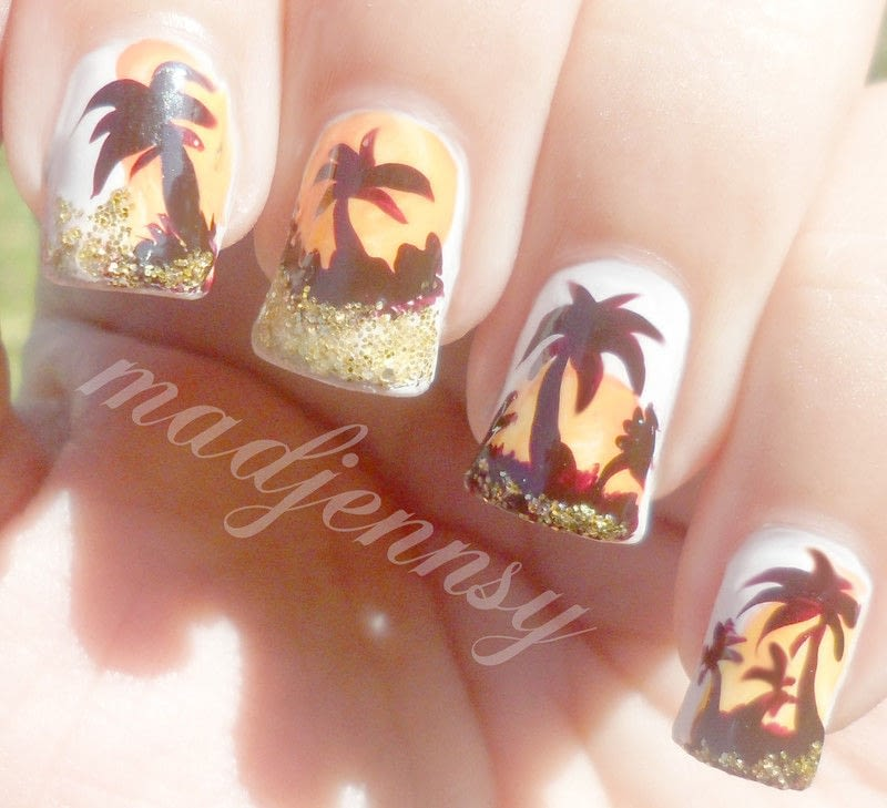 Glittery Palm Tree Nail Art · How To Paint A Glitter Nail · Beauty ...