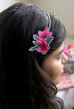 Add flowers to your headgear! .  Free tutorial with pictures on how to make a hairband / headband in under 60 minutes by papercrafting with hair band, marker, and template. Inspired by crafts, kids, and flowers. How To posted by The Craftables.  in the Papercraft section Difficulty: Easy. Cost: Absolutley free. Steps: 4