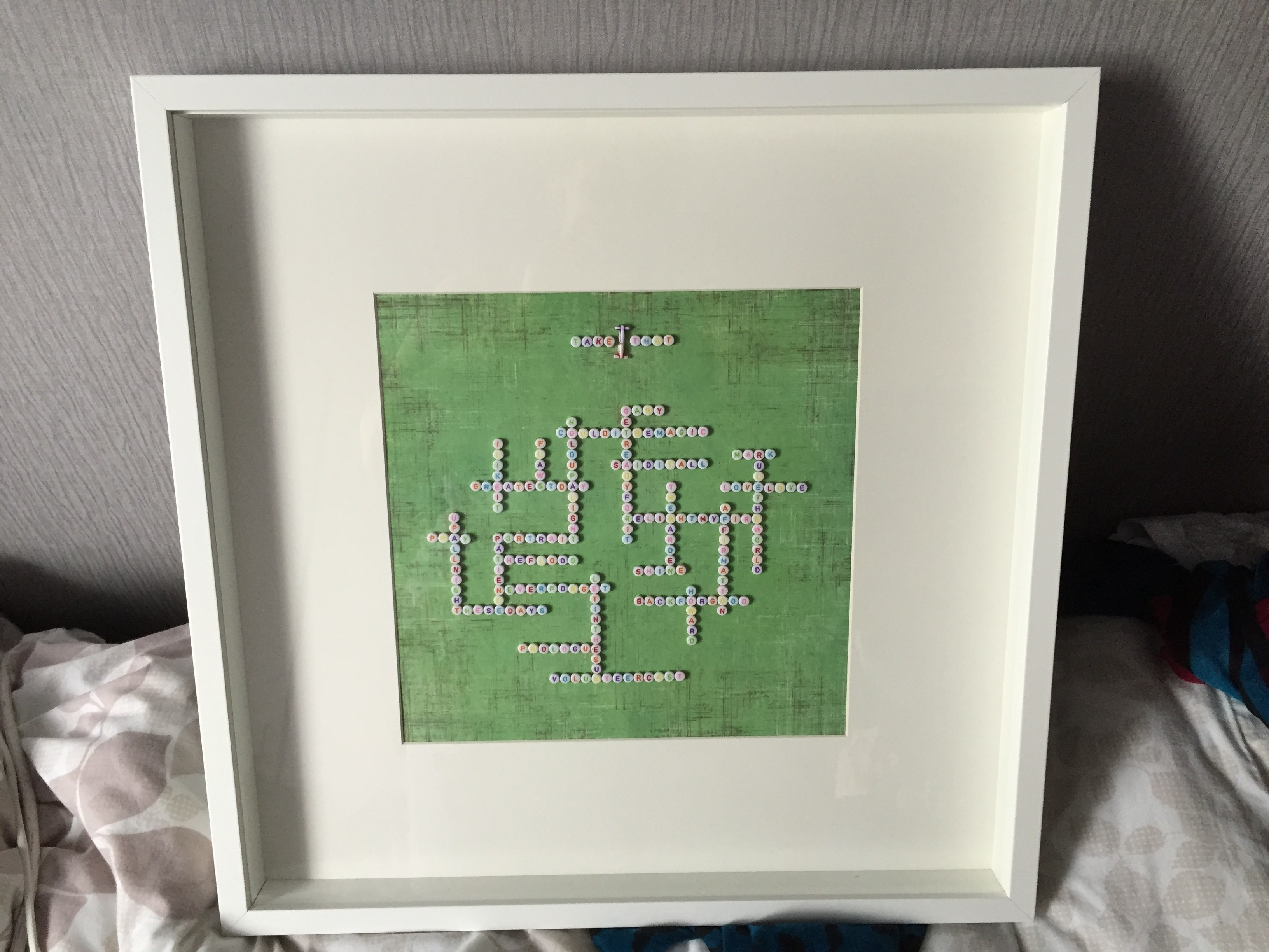Personalised letter bead framed artwork how to make a shadow box a personalised piece of homeware made for a friend take that edition spiritdancerdesigns Images
