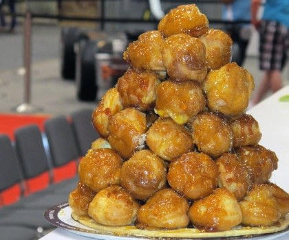 Croquembouche (or Chocolate Glazed Cream Puffs) by Dufflet Rosenberg, Dufflet Pastries .  Free tutorial with pictures on how to bake a pastry in under 45 minutes by cooking and baking with butter, water, and water. Recipe posted by A Bite To Eat.  in the Recipes section Difficulty: Simple. Cost: Cheap. Steps: 5