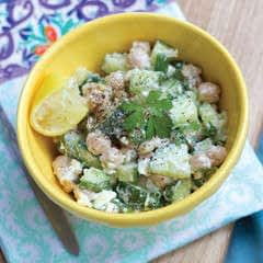 Cucumber Salad With Crumbled Feta And Pine Nuts