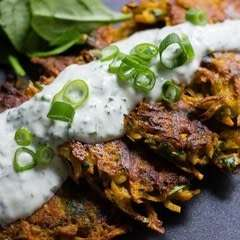 Curried Carrot Fritters With Yoghurt Sauce