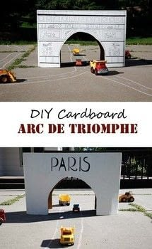 Turn a big cardboard box into the Arc de Triomphe. .  Free tutorial with pictures on how to make a babies & kids in under 150 minutes using cardboard box, paint, and permanent marker. How To posted by Stef.  in the Other section Difficulty: Simple. Cost: No cost. Steps: 3