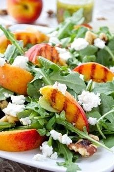 A picture perfect salad with summer's best produce! .  Free tutorial with pictures on how to make a salad in under 12 minutes by cooking with peach, arugula, and goat cheese. Inspired by vegetarian and fruit. Recipe posted by Keri Z.  in the Recipes section Difficulty: Simple. Cost: 3/5. Steps: 4