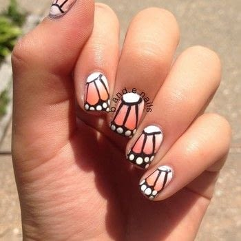 A cute butterfly inspired mani .  Free tutorial with pictures on how to paint an animal nail in under 15 minutes by nail painting with acrylic paint, topcoat, and nailpolish. How To posted by Bella and Esther S.  in the Beauty section Difficulty: 3/5. Cost: No cost. Steps: 5