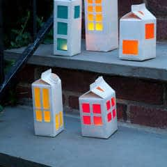 Milk Carton Tea Light House