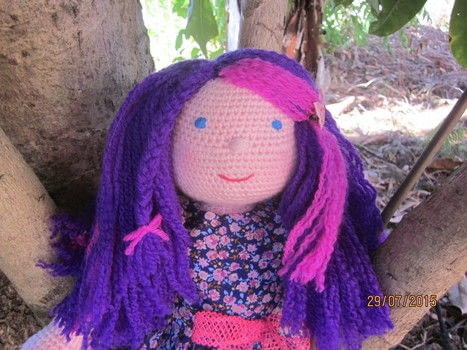 """Handmade 18"""" crochet Dolls .  Make a rag dolls / a person plushie by crocheting with yarn, polyester, and fat quarter. Creation posted by joanne.mccreath.  in the Yarncraft section Difficulty: 3/5. Cost: Cheap."""