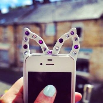 Customise your favourite phone case with a pair of bejewelled sugru animal ears! .  Free tutorial with pictures on how to make a phone case in under 20 minutes by embellishing and molding with phone case, sugru, and gems. Inspired by crafterella. How To posted by Cat Morley.  in the Other section Difficulty: Simple. Cost: Cheap. Steps: 10