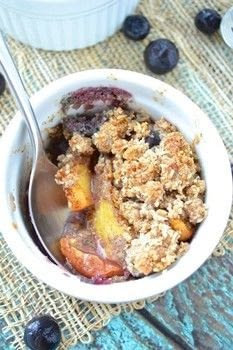 A healthy Paleo dessert that tastes sinful!  .  Free tutorial with pictures on how to bake a crumble in under 45 minutes by cooking and baking with peach, blueberries, and lemon. Inspired by vegan, fruit, and gluten free. Recipe posted by Keri Z.  in the Recipes section Difficulty: Simple. Cost: 3/5. Steps: 3