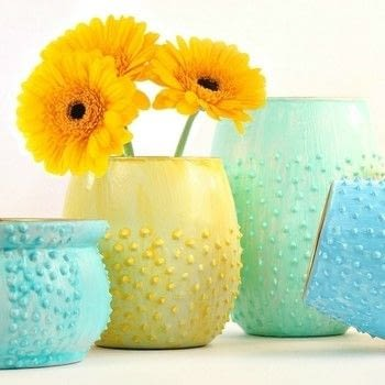 Make beautiful flower vases from thrift store glassware .  Free tutorial with pictures on how to make a vase in under 91 minutes by creating, spraypainting, decorating, and not sewing with spray paint, spray paint, and paintbrushes. How To posted by Mark Montano.  in the Decorating section Difficulty: Easy. Cost: Cheap. Steps: 3