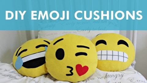 Create some fun emoji room decor! .  Free tutorial with pictures on how to make a shaped cushion in under 60 minutes by sewing with fleece, felt, and thread. Inspired by emojis. How To posted by Lauren.  in the Sewing section Difficulty: Simple. Cost: Cheap. Steps: 1