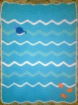 Crochet Baby Blanket .  Make a baby blanket comforter using yarn and crochet hook. Inspired by fish and whales. Creation posted by Carol S.  in the Yarncraft section Difficulty: Simple. Cost: Cheap.