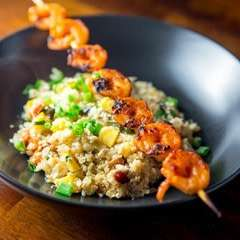 "Korean Shrimp Skewers over Cauliflower ""Rice"""