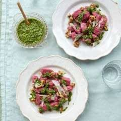 Beetroot Gnocchi With Nutty Watercress Pesto