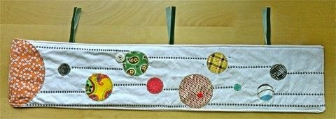 Minimalist Solar System Quilt .  Free tutorial with pictures on how to make a hanging in under 180 minutes by embroidering and sewing with fabric, fabric scraps, and backing. Inspired by space. How To posted by The Sewing Maven.  in the Sewing section Difficulty: Simple. Cost: Cheap. Steps: 5