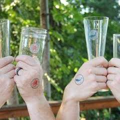 Party Glass And Guest Matching Tattoos