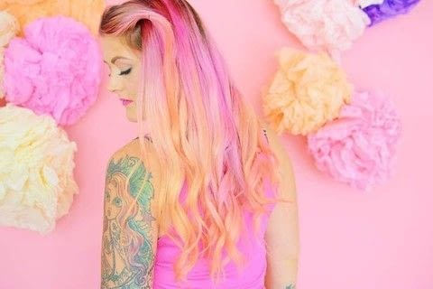 How to get pink to orange ombre fantasy hair .  Free tutorial with pictures on how to make a coloring & dying in under 60 minutes by hairstyling with hair dye, hair dye, and protective gloves. Inspired by ombre. How To posted by MermaidGossip.  in the Beauty section Difficulty: Easy. Cost: Cheap. Steps: 1