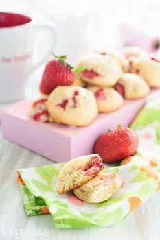 Strawberry Cookies - these are soft and taste like little bite-sized cakes with sweet morsels of juicy fruit .  Free tutorial with pictures on how to bake a cookie in under 60 minutes by cooking and baking with strawberries, butter, and sugar. Recipe posted by Imagelicious.  in the Recipes section Difficulty: Simple. Cost: 3/5. Steps: 1