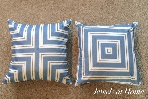 Turn stripes into stunning! .  Free tutorial with pictures on how to make a pillow/cushion in under 120 minutes by sewing with fabric, sewing machine, and scissors. Inspired by kate spade, anthropologie, and geometric. How To posted by Jewels at Home.  in the Sewing section Difficulty: Simple. Cost: Cheap. Steps: 2