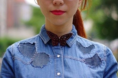 How to give your old, stained but still favorite denim shirt a second chance to shine.  .  Free tutorial with pictures on how to make a blouse in under 180 minutes by patchworking and hand sewing with shirt, fabric, and pencil. How To posted by fashionrolla.  in the Sewing section Difficulty: Simple. Cost: Cheap. Steps: 13
