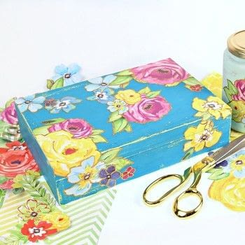 Make a vintage gift box with a wax resist technique! .  Free tutorial with pictures on how to make a box in under 90 minutes by creating, decorating, and decoupaging with e-6000 spray adhesive, box, and americana decor chalky finish paint. How To posted by Mark Montano.  in the Art section Difficulty: Easy. Cost: Cheap. Steps: 4
