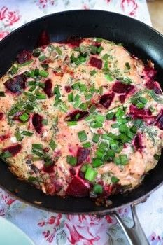 Tuck into a tasty smoked salmon & beetroot frittata with spring onions, mustard and dill! .  Free tutorial with pictures on how to cook a frittata in under 15 minutes by cooking with beetroots, onion, and spring onions. Recipe posted by Cat Morley.  in the Recipes section Difficulty: Simple. Cost: Cheap. Steps: 5
