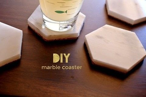 Simple and Sophisticated Coaster DIY .  Free tutorial with pictures on how to make a coaster in under 45 minutes by decorating with scissors, cork, and sheet. Inspired by marble. How To posted by Kerry and Andy B.  in the Home + DIY section Difficulty: Easy. Cost: 3/5. Steps: 4