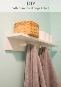 Perfect for a cottage bathroom! .  Free tutorial with pictures on how to make a shelf in under 120 minutes by decorating with boards, dowel, and drill. How To posted by Kerry and Andy B.  in the Home + DIY section Difficulty: 4/5. Cost: Cheap. Steps: 7
