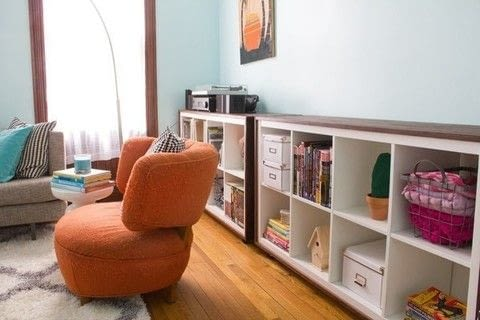 Ikea Hack! .  Free tutorial with pictures on how to make a bookcase / cubby in under 120 minutes by constructing with wood, foam board , and wood glue. Inspired by ikea. How To posted by Kerry and Andy B.  in the Home + DIY section Difficulty: 3/5. Cost: 3/5. Steps: 6