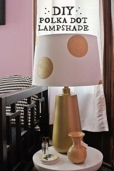 So cute! .  Free tutorial with pictures on how to make a lamp / lampshade in under 30 minutes by decorating with lamp shade, paint, and paintbrush. Inspired by polka dot. How To posted by Kerry and Andy B.  in the Home + DIY section Difficulty: Easy. Cost: Absolutley free. Steps: 4