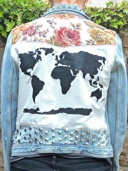 Floral World Map Patched Studded Upcycled Women's Blue Distressed Denim Jacket .  Free tutorial with pictures on how to make a denim jacket in under 180 minutes using paper, acrylic paint, and needle and thread. Inspired by punk and floral. How To posted by Eleanor.  in the Sewing section Difficulty: Easy. Cost: Cheap. Steps: 3