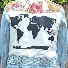 Floral World Map Patched Studded Upcycled Blue Distressed Denim Jacket